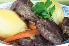 Carne asada de pote con los pedazos de patatas y del perejil enteros de las zanahorias Foto de archivo libre de regalías