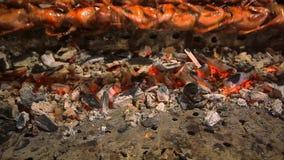 Carne asada del pájaro en un escupitajo en la KOH de Tailandia del mercado de la noche metrajes