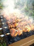 Carne, asada en el fuego Foto de archivo