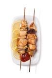 Carne asada a la parilla del pollo en el pincho Fotografía de archivo libre de regalías