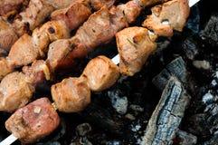 Carne asada a la parilla en los pinchos Fotografía de archivo libre de regalías