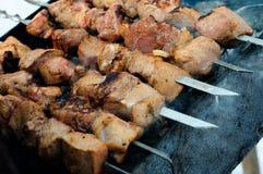 Carne asada a la parilla en los pinchos Foto de archivo libre de regalías
