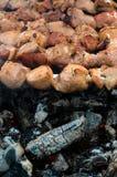 Carne asada a la parilla en los pinchos Fotos de archivo libres de regalías