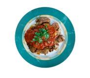 Carne asada a la parrilla con la salsa de chile Foto de archivo libre de regalías