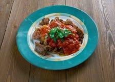 Carne asada a la parrilla con la salsa de chile Imagenes de archivo