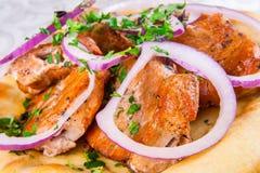 Carne asada a la parrilla en el pan Pita Imagen de archivo