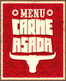 Carne asada, roast meat - barbecue spanish text menu Royalty Free Stock Image