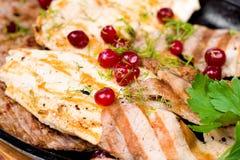 Carne assorted grelhada, macro Fotografia de Stock