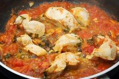 Carne blanca del pollo con la salsa de tomate Fotos de archivo