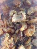 Carne, camarão e molho para o jantar Imagens de Stock Royalty Free
