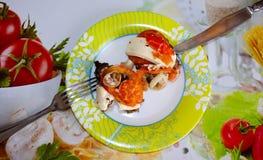 Carne, carne con formaggio e pomodori Fotografie Stock