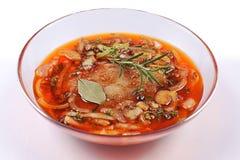Carne, carne di maiale in marinata su una lastra di vetro Fotografia Stock Libera da Diritti