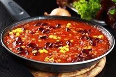 carne chili przeciwu niecka Zdjęcie Stock
