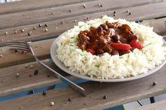 carne chili przeciwu ryż Zdjęcie Stock