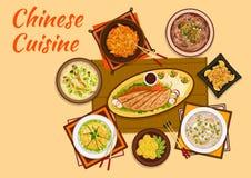 Carne chinesa da culinária e ícone liso quente dos pratos de sopa Imagens de Stock