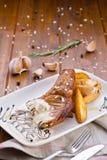 Carne cocida con las patatas en salsa Fotos de archivo libres de regalías