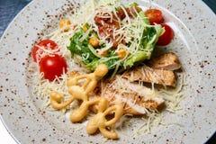 Carne cocida con las verduras crudas y el queso imagen de archivo libre de regalías