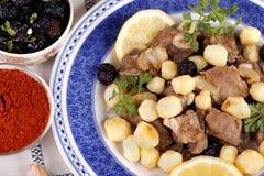 Carne cocinada con las patatas Foto de archivo