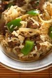 Carne com arroz e pimenta Fotografia de Stock Royalty Free