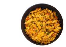 Carne com arroz e vegetais em uma frigideira Vista superior Isolado Fotos de Stock Royalty Free