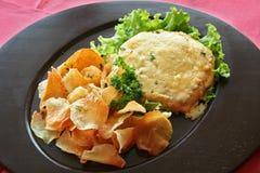 Carne com batata fritada Imagens de Stock