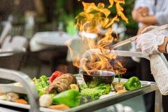 Carne com fogo Foto de Stock Royalty Free