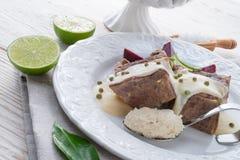 Carne com molho das beterrabas e de armorácio Foto de Stock Royalty Free