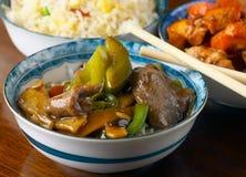 Carne com molho e pimentas do feijão preto Foto de Stock Royalty Free