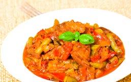 Carne com vegetais Fotografia de Stock