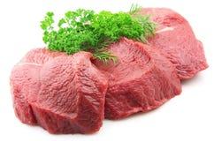 Carne com verdes Imagem de Stock