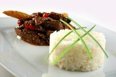 Carne con las verduras y el arroz Imágenes de archivo libres de regalías