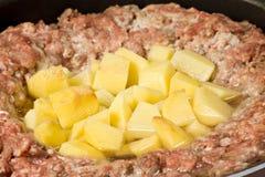 Carne con le patate Fotografia Stock Libera da Diritti
