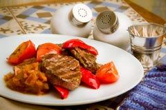 Carne con le verdure arrostite Fotografia Stock Libera da Diritti