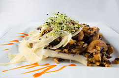 Carne con riso ed i funghi Fotografia Stock Libera da Diritti