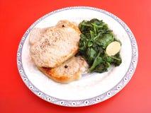Carne con spinaci Fotografie Stock Libere da Diritti