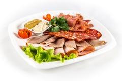 Carne cortada com vegetais Imagens de Stock