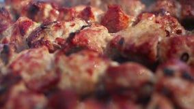 Carne cotta closeup Carne cotta Macro Cottura del kebab per il picnic stock footage