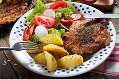 Carne cotta con insalata Fotografia Stock