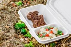 Carne cotta con la verdura fresca Consegna dell'alimento Immagini Stock Libere da Diritti