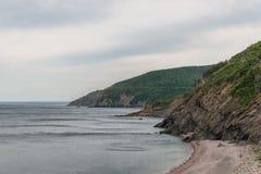 Carne Covecape, bretón, Nova, scotia, océano, costa, orilla, verde, Foto de archivo