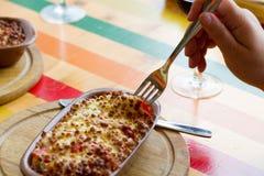 Carne cozida no queijo Imagem de Stock Royalty Free