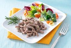 Carne cozinhada com vegetais Fotografia de Stock