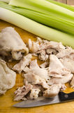 Carne cozinhada da galinha com aipo e alho-porros Fotos de Stock