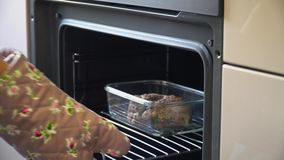 Carne cozinhada mulher fora do forno quente Prepara??o dos alimentos com o forno el?trico da convec??o video estoque