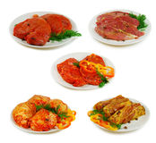Carne crua A coleção da carne de porco, da carne e da galinha diferentes corta o molho do witj isolado no branco Fotos de Stock Royalty Free