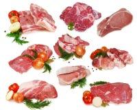 Carne crua Coleção das fatias diferentes da carne de porco e da carne isoladas no fundo branco Fotografia de Stock