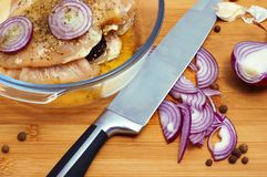 Carne crua com ervas e cebola no prato da caçarola Imagens de Stock