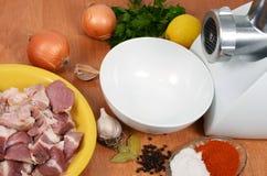 Carne crua com especiarias Imagem de Stock Royalty Free