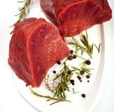 Carne crua com especiarias Foto de Stock Royalty Free