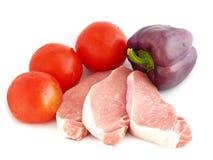 Carne crua com vegetais Foto de Stock